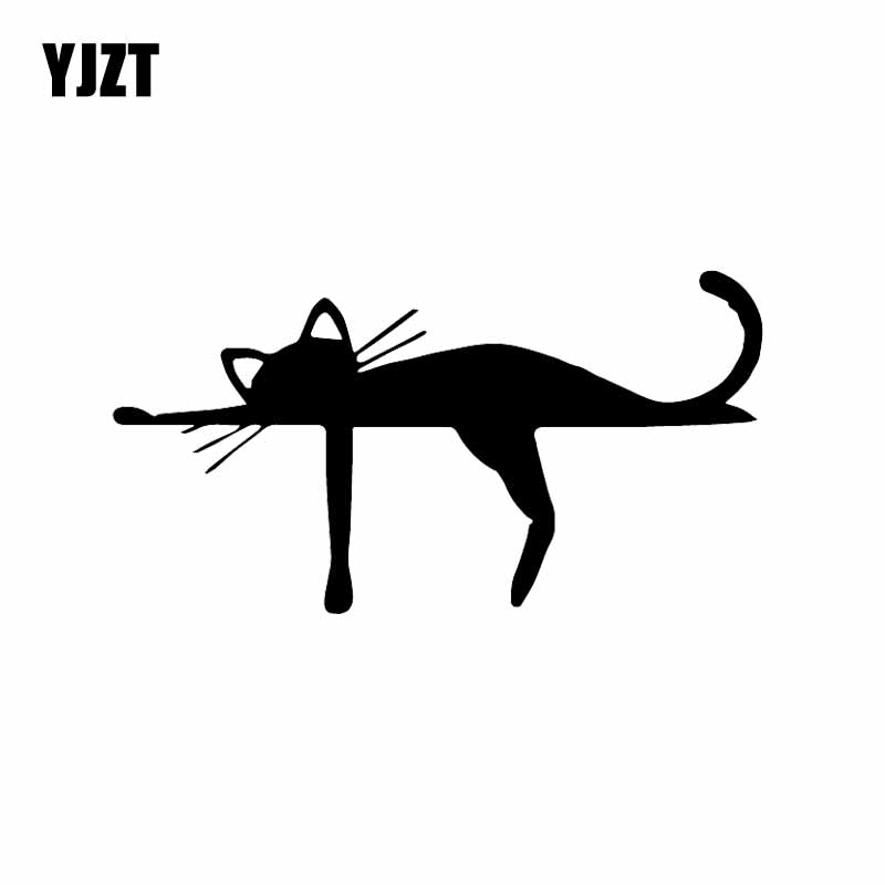 YJZT 15.9X8.4CM Vinyl Decal Cute Cat Animal Dream Funny Cheerful Cartoon Car Sticker Black/Silver C24-1763