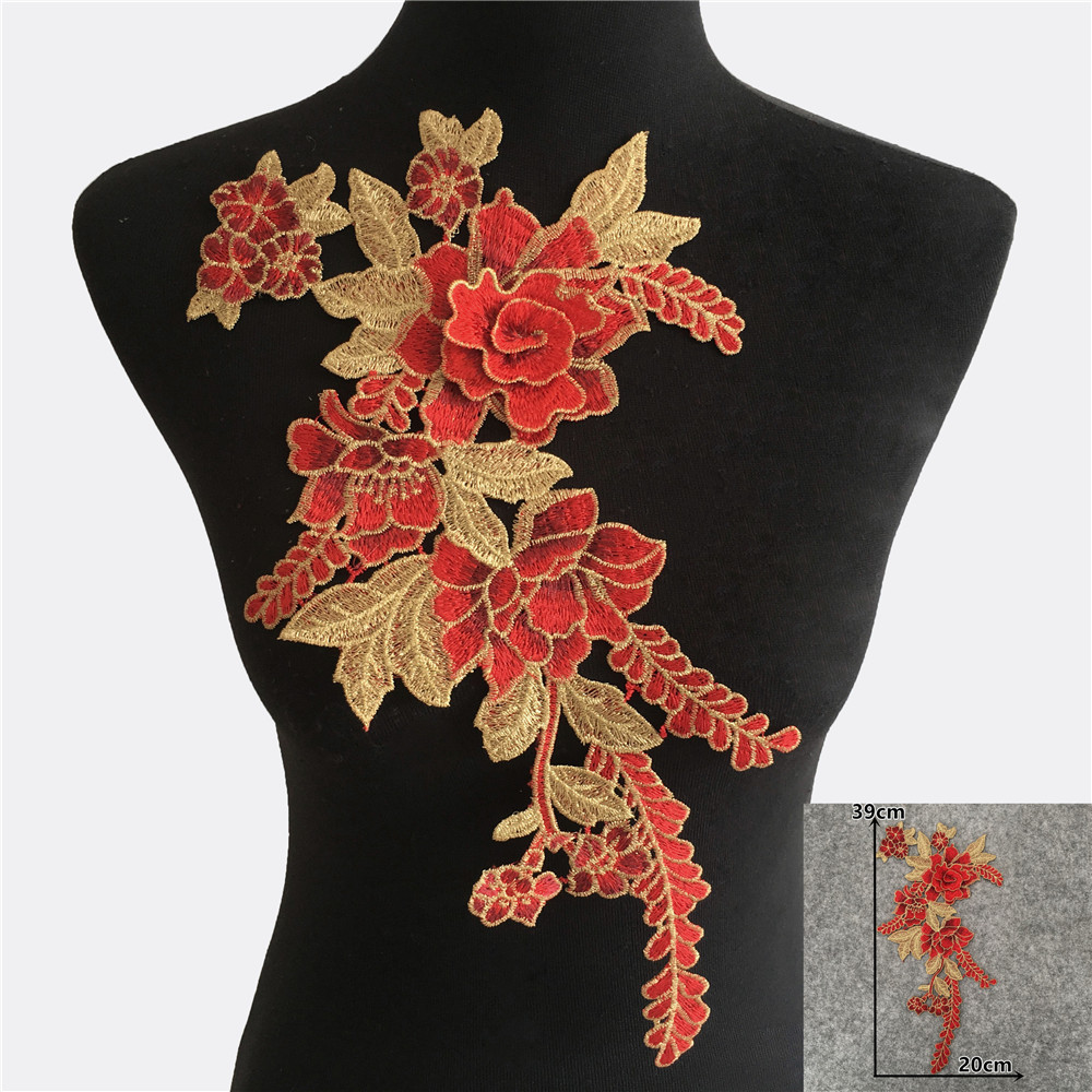 3D Red Leaves Neckline Lace Embroidered Applique Sewing for Clothes Apparel DIY