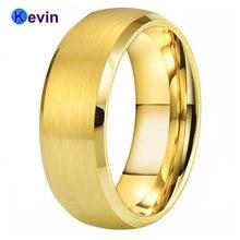 Желтое золото обручальное кольцо для мужчин и женщин вольфрамовое