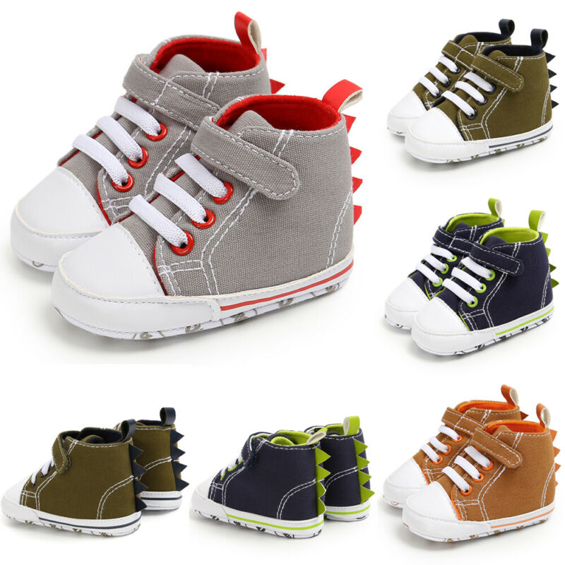Newborn Baby Shoes Girls Boys Dinosaur Horn Canvas Shoes Pre-Walker Soft Sole Pram Sneakers Trainers First Walkers 0-18M