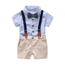 Bow Tie Clothes Set for Baby Boy Gentleman Summer Suit for Toddler Kid Formal Party Infant Striped Romper + Suspender Pants
