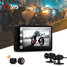 VSYS F2 Motorcycle Camera System WiFi DVR with Smart Gauge (TPMS/Odometer) Dual SONY IMX307 Night Vision Waterproof Dash Cam(China)