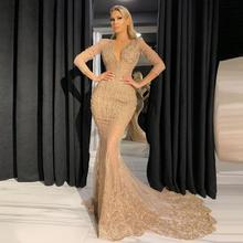 Champagne Sequins Sheer Prom Dresses Long Sleeves Beaded Appliques Sexy Deep V Neck Evening Party 2021 Custom Made Long Gowns