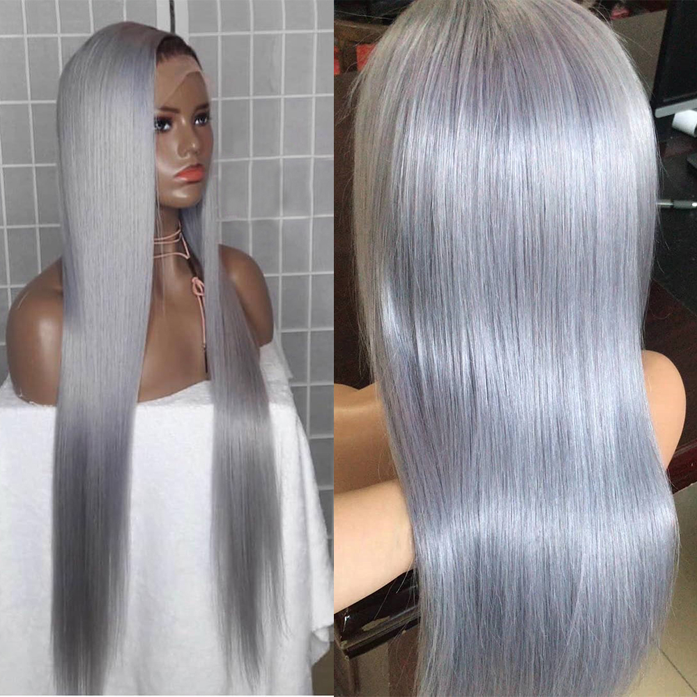ALITOP 13x6 Grey Bob Wig Lace Front Human Hair Wigs 150% Density Pre Plucked Straight Indian Remy Hair Wig For Black Women