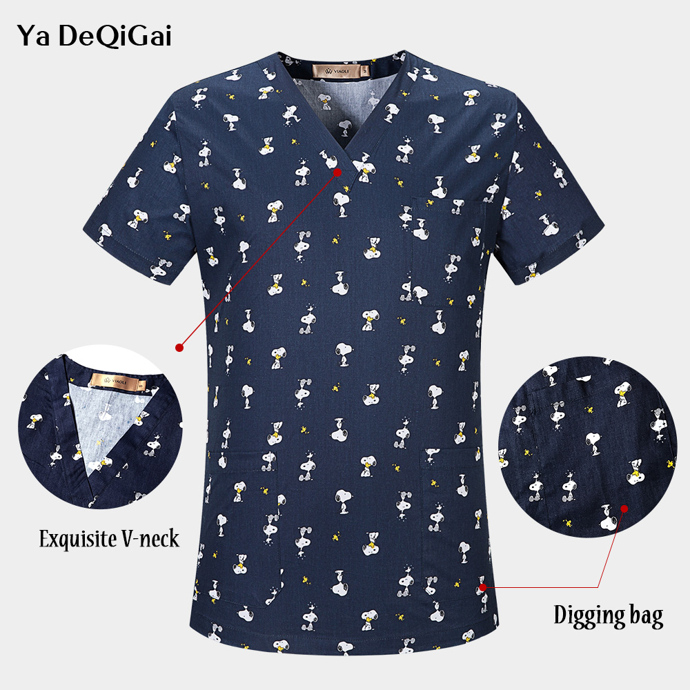 V-Neck 100% Cotton Breathable Scrub Tops Cartoon Printing Surgical Medical Uniform Hospital Doctor Scrub Shirt For Women And Men