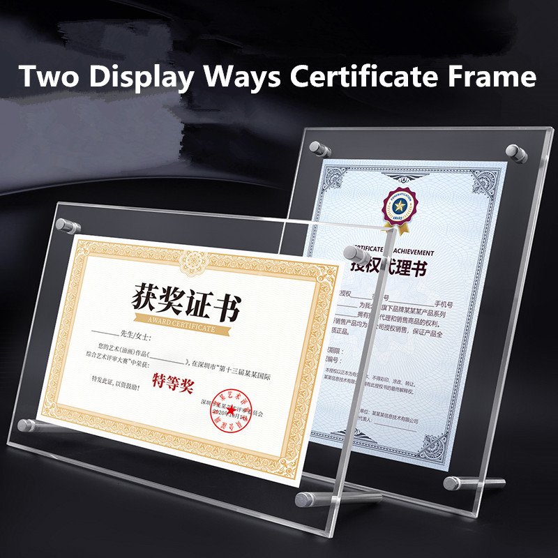 A5/A4 Picture Frame Acrylic Photo Frames Certificate Camp Poster Display Stand Frame Rectangle Paper Holder Wedding Decor