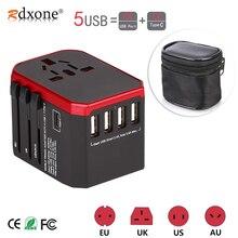 Rdxone محول السفر الدولي مهايئ طاقة شامل الكل في واحد مع 5 USB شاحن الجدار في جميع أنحاء العالم للمملكة المتحدة/الاتحاد الأوروبي/الولايات المتحدة/آسيا