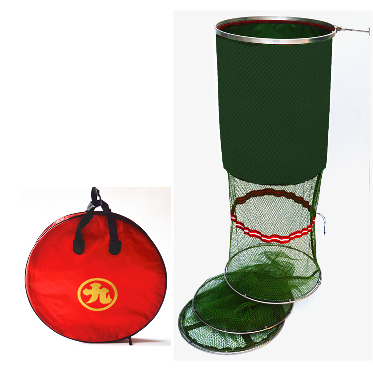 Double Steel Gelatinization Scratch-Resistant Fish Basket Fishing Wild Fish Small Fishnet Fish Besketb Bag Universal Floor Outle