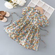 Summer baby girl's clothes kids floral dress for 1 3 5 year baby birthday girl children clothing outfit thin belt dresses dress