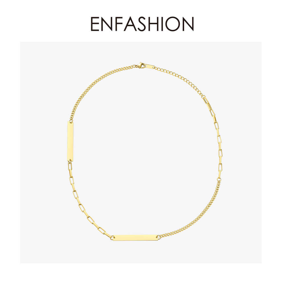 ENFASHION Personalized Engraved Name Choker Necklace Women Stainless Steel Custom Pendant Necklace Femme Jewelry Gifts P193020