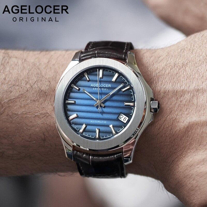 AGELOCER Swiss Men montre Top marque de luxe mâle étanche réserve de marche 80 heures montre-bracelet automatique horloge bleue relogio 6304A1