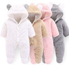 Зимняя одежда для новорожденных; мягкий флисовый комбинезон для маленьких мальчиков и девочек; Верхняя одежда для новорожденных; комбинезоны для малышей; плотная Пижама; комбинезон