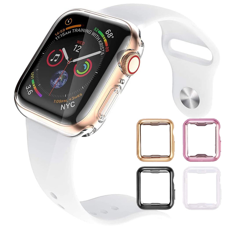 TPU all-inclusive protective shell Case For Apple Watch Series 5 <font><b>4</b></font> <font><b>3</b></font> <font><b>2</b></font> 1 40mm 44mm Luxury Cover Shell 42mm bracelet smart watch image