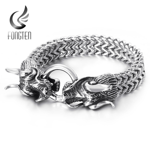 Image 1 - Fongten Hiphop Dragon Mesh Chain Bracelet Quality Stainless Steel Heavy Charm Punk Mens Fashion Jewelry Male Special Bracelets