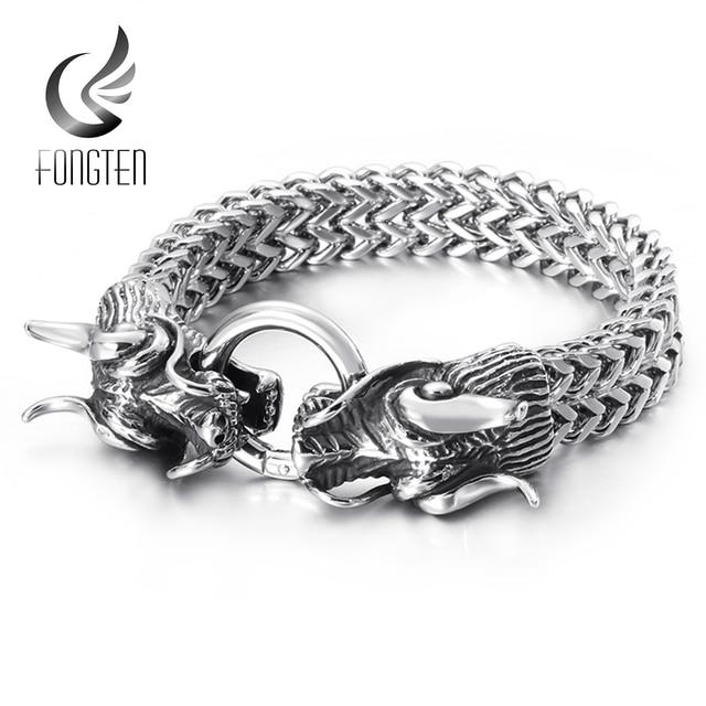 Fongten Hiphop Dragon Mesh Chain Bracelet Quality Stainless Steel Heavy Charm Punk Mens Fashion Jewelry Male Special Bracelets