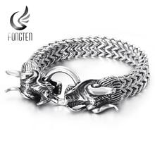 Fongten Hiphop Dragon Mesh Chain bransoletka jakość stal nierdzewna ciężki urok Punk moda męska biżuteria męskie specjalne bransoletki