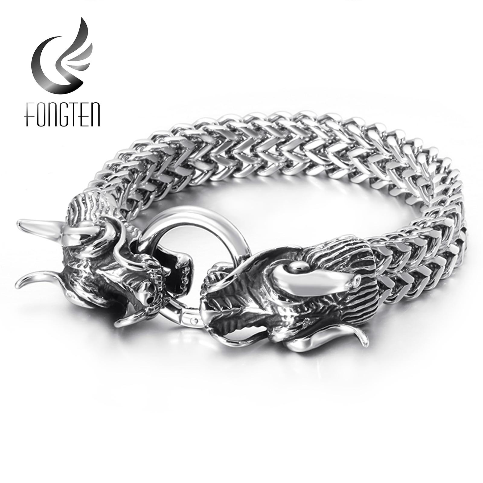 Men/'s Bracelets Punk Fashion Chinese Dragon Bracelet Stainless Steel Jewelry New