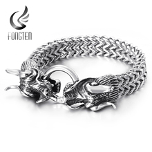 Fongten الهيب هوب التنين شبكة سلسلة سوار جودة الفولاذ المقاوم للصدأ الثقيلة سحر الشرير مجوهرات الأزياء الذكور أساور خاصة