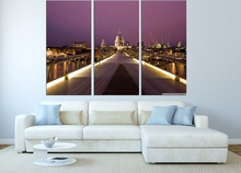 Modern Colorful Photo Picture Millennium Bridge and St Pauls Room Decor Cities Canvas Art Painting Living