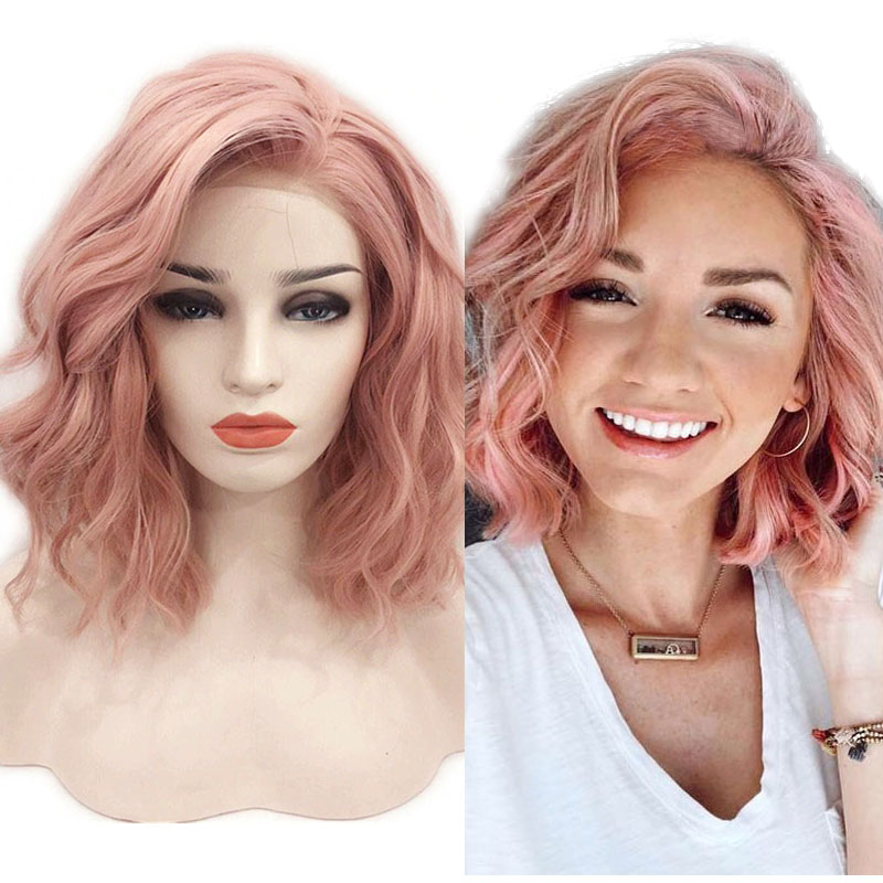 RONGDUOYI 12Inch Short Synthetic Lace Front Wigs For Women Orange Pink Natural Wave Bob Wig With Side Part