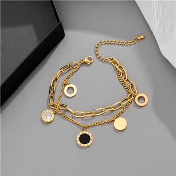 Luxury Famous Brand Jewelry Rose Gold Stainless Steel Roman numerals Bracelets & Bangles Female Charm Bracelet For Women 1