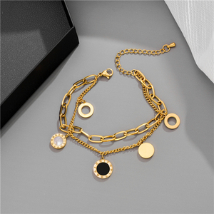 Luxury Famous Brand Jewelry Rose Gold Stainless Steel Roman numerals Bracelets & Bangles Female Charm Bracelet For Women