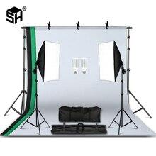Kit de Equipamentos De Iluminação De Fotografia profissional com Softbox Guarda chuva Suave de fundo stand com boom de braço de Luz Estúdio de Fotografia