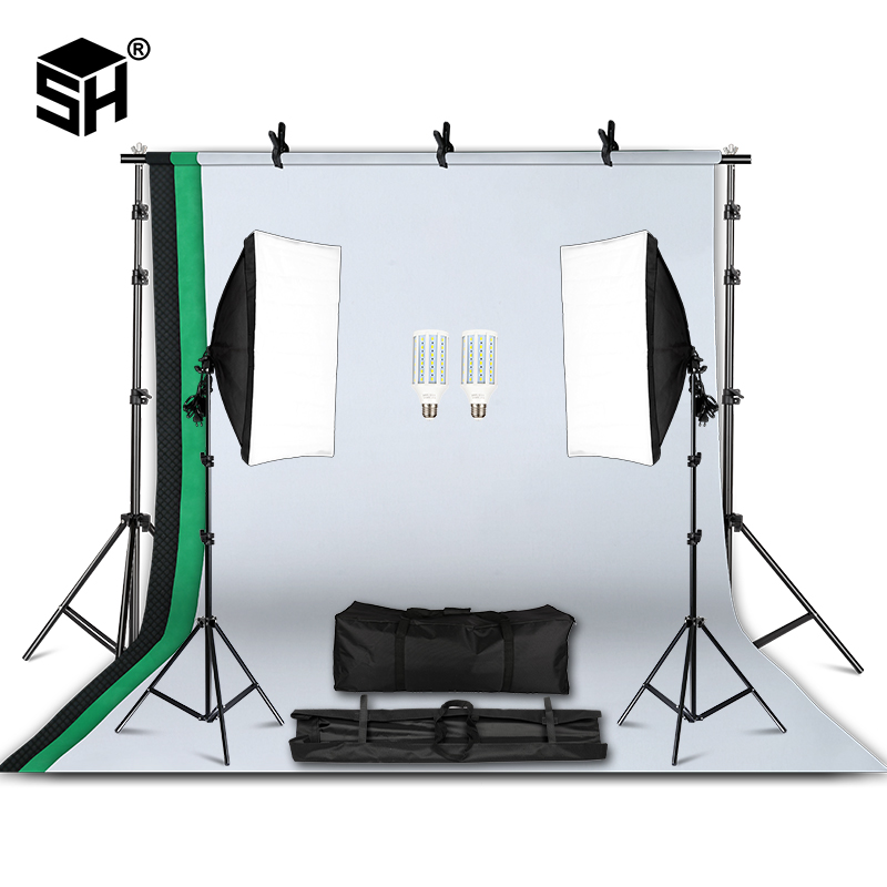Professional Photography Lighting Equipment Kit with Softbox Soft 2M x 2M background stand Backdrops Light Bulbs Photo Studio|Photo Studio Accessories| |  - title=