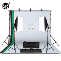 Professional Photography Lighting Equipment Kit with Softbox Soft 2M x 2M background stand Backdrops Light Bulbs Photo Studio