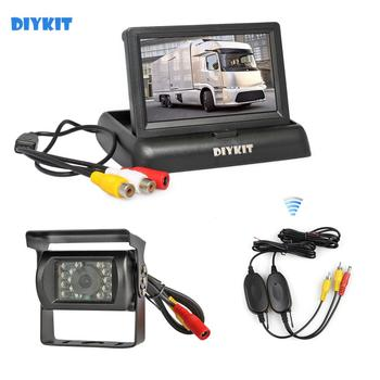 "DIYKIT Wireless 4.3"" Foldable Rear View Monitor Car Monitor Waterproof CCD Reverse Backup IR Night Vision Bus Truck Camera"
