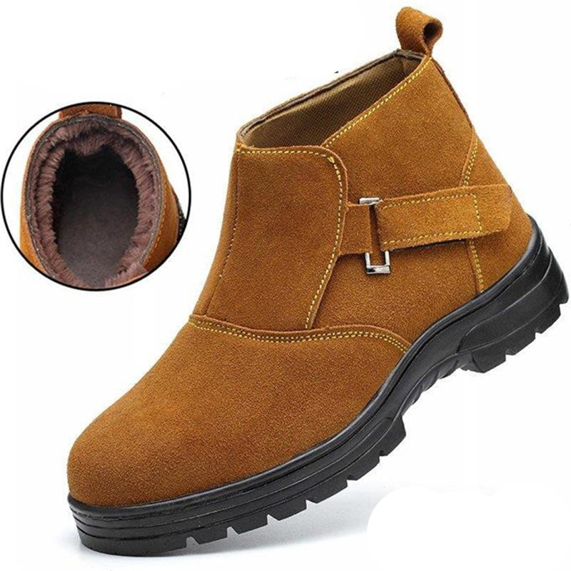Safety Shoes Work Boots Steel Toe Cap Covering Waterproof Boots Men Winter Cotton-padded Shoes Thickening Thermal Boots for Men image