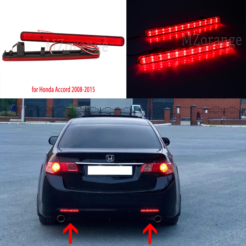 For Acura TSX Sedan 2009-2014 For Honda Accord 2008-2015 LED Rear Bumper Lights Tail Lights Brake Lights Stop Lamp Taillights