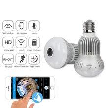 Mini Kamera WiFi Panorama Glühbirne Fisheye 360 Grad 960P Nachtsicht Hause Überwachung Motion Erkennung Video Micro Cam
