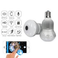 Mini caméra WiFi panoramique ampoule Fisheye 360 degrés 960P Vision nocturne Surveillance à domicile détection de mouvement vidéo Micro Cam