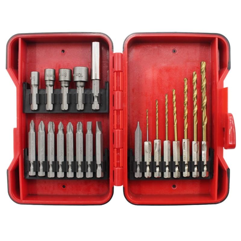Socket Bit Hex Handle Twist Drill Electric Screwdriver Bit Sleeve Set Combination Tool Adapter Metal Drill Sleeve Screwdriver Electric Drills     - title=