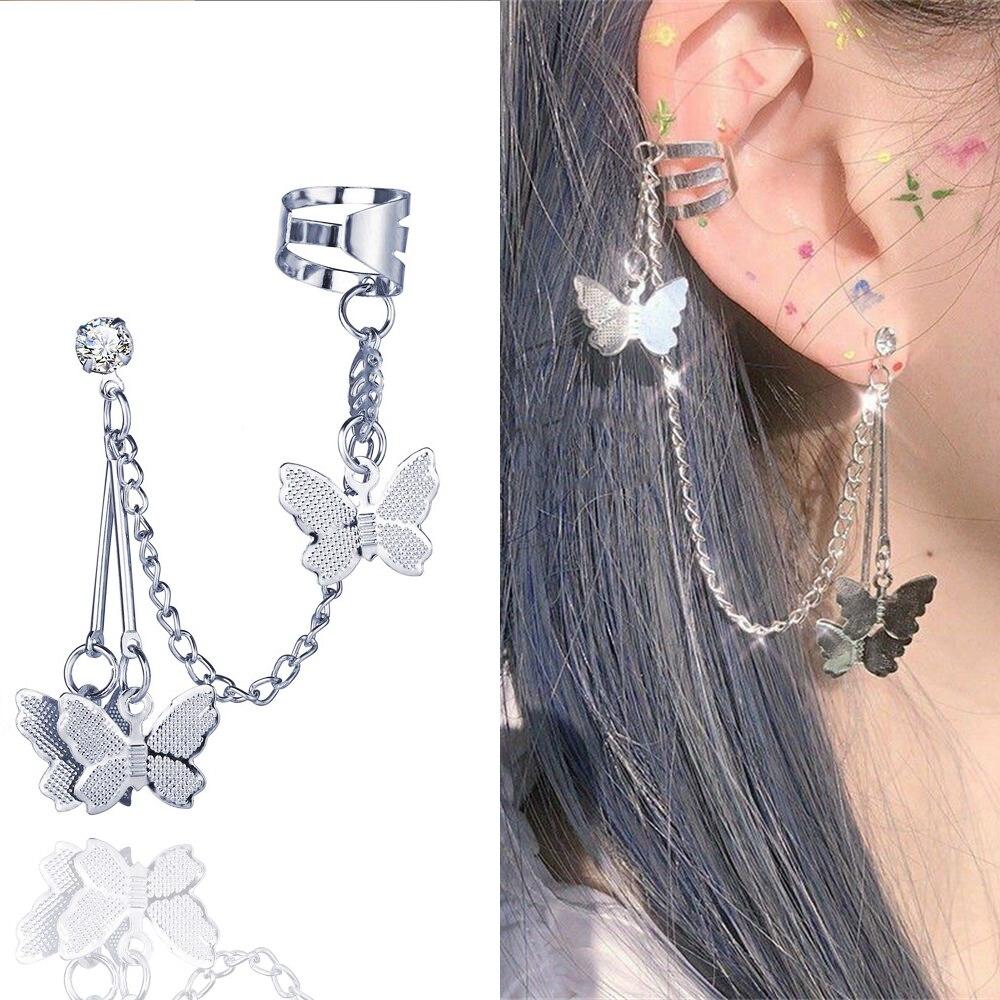 Pendientes de Clip de mariposa para mujer y niña, gancho para la oreja, Clips para la oreja de acero inoxidable, aretes de doble perforación, joyería 2020