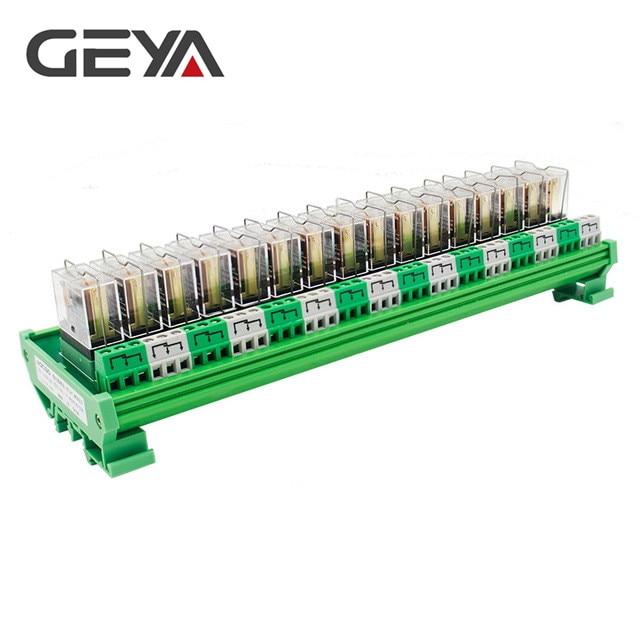Carte relais GEYA NG2R 16 canaux 1NO 1NC Module relais Rail Din fiche relais Omron d'origine