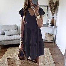 Dress Elegant Robe Vintage Women's Short-Sleeve Round-Neck Comfortable High-Waist Solid-Color