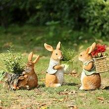 Decorações de páscoa para casa coelho bonito resina jardim ornamentos varanda pátio parque ao ar livre ornamentos de fadas zoo arte presente