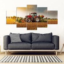 5 Pieces Posters Red Tractor Harvester On Farm Wall Art Pictures Home Decor Modular Canvas HD Paintings Living Room Decoration