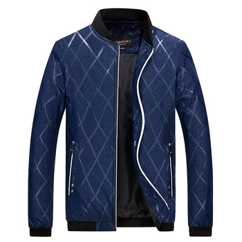 Autumn Men's Leisure Jacket , Fashion Men's Solid Color Long Sleeve Stand Collar Jackets Men , Large Size Checked Casual Jacket
