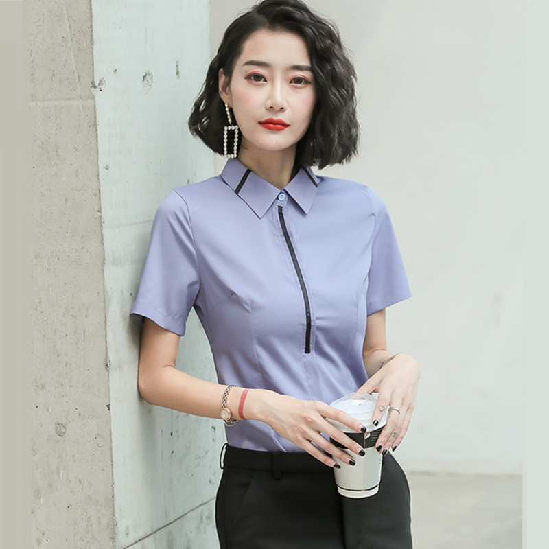 Korean Fashion Chiffon Women Blouses Short Sleeve Office Lady Shirt and Blouse Womens Tops and Blouses Plus Size XXXL/5XL