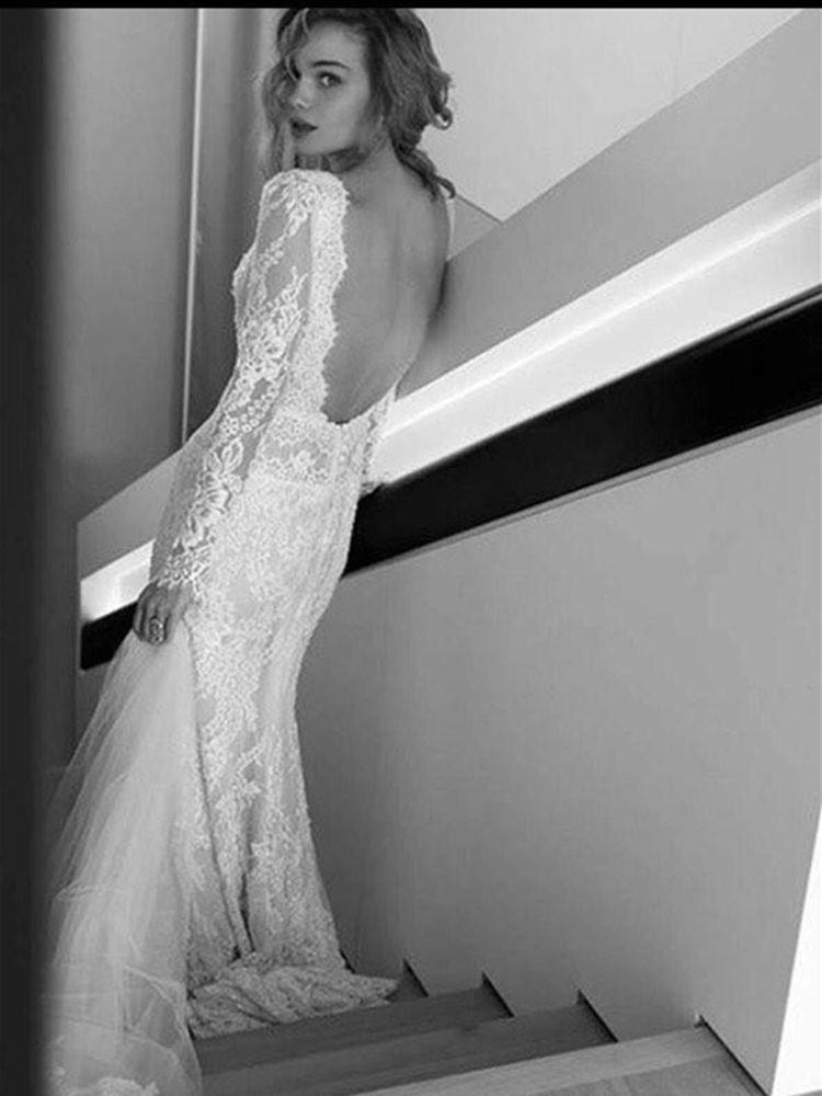 Deep V Neck Open Back Wedding Dresses Long Sleeve Lace Mermaid Floor Length Bridal Gowns 2020 Spring Summer Design Customize