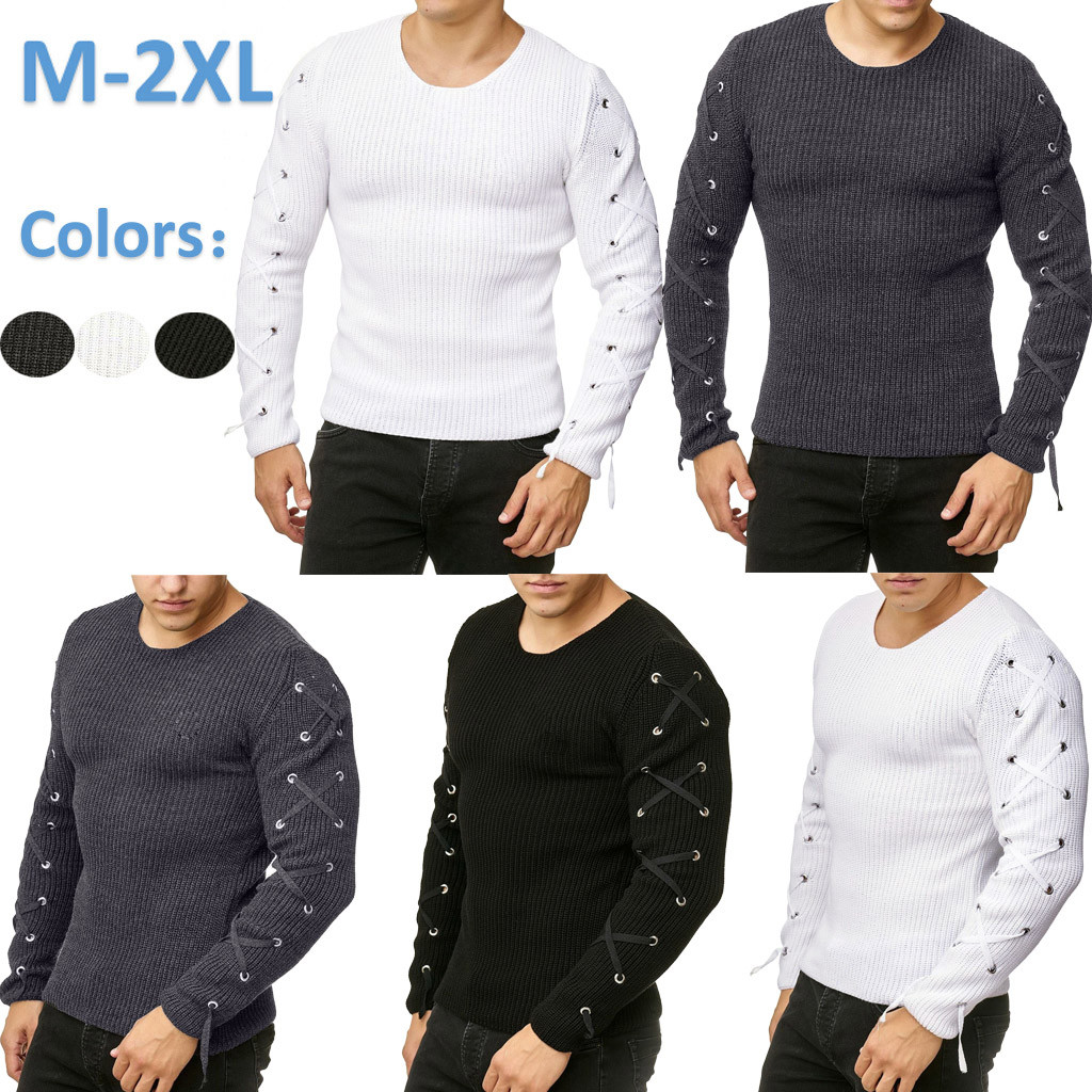 Men's Pullover Knitted Raglan Bandage Sweater Blouse Top M-2XL Plus Size Autumn Winter Pull Homme Hombre Sweter Pullover Men