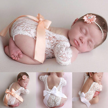 Baby Deep V Backless Одежда Новорожденный Фото Кружево Ползунки Малыш Полость Дизайн Фотография Одежда