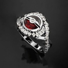 Creative 925 Silver Fairy Ball Series Red and White Ring Engagement Wedding Party Gift Jewelry for Women