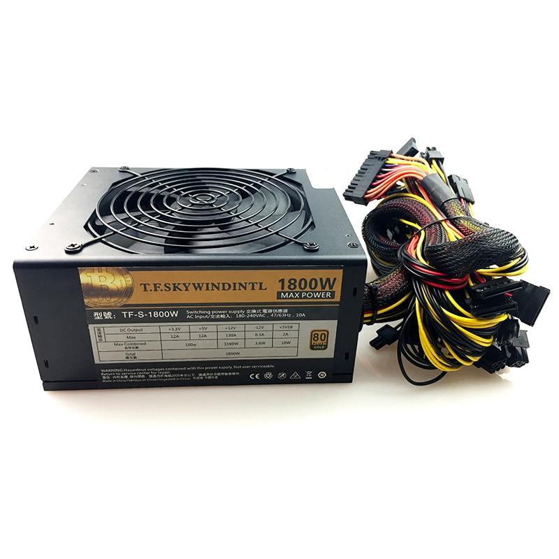 Livraison gratuite ordinateur extraction puissance 1800W psu PC alimentation 12V 24PIN 8PIN pour mineur alimentation de haute qualité pour BTC ETC ZEC