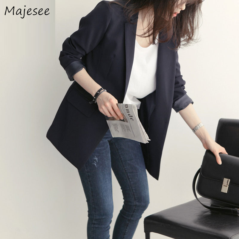 Blazers Women Autumn Black Solid Harajuku Clothing Womens Blazers Casual Long Single Button Office Ladies Elegant Simple Soft