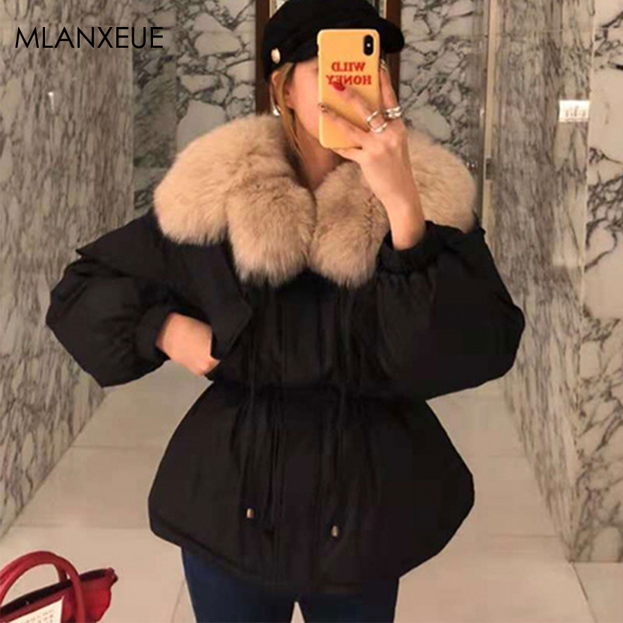 High Waist Winter Fur Collor Down Coat Women Thicken Warm Plus Size Parka Coats Jackets Female Korean Slim Down Jacket Outerwear