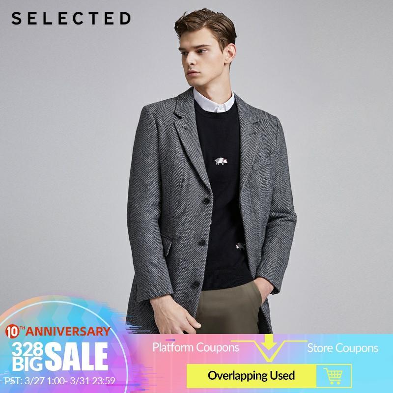 SELECTED Men's Winter Striped Woolen Overcoat S 419427550
